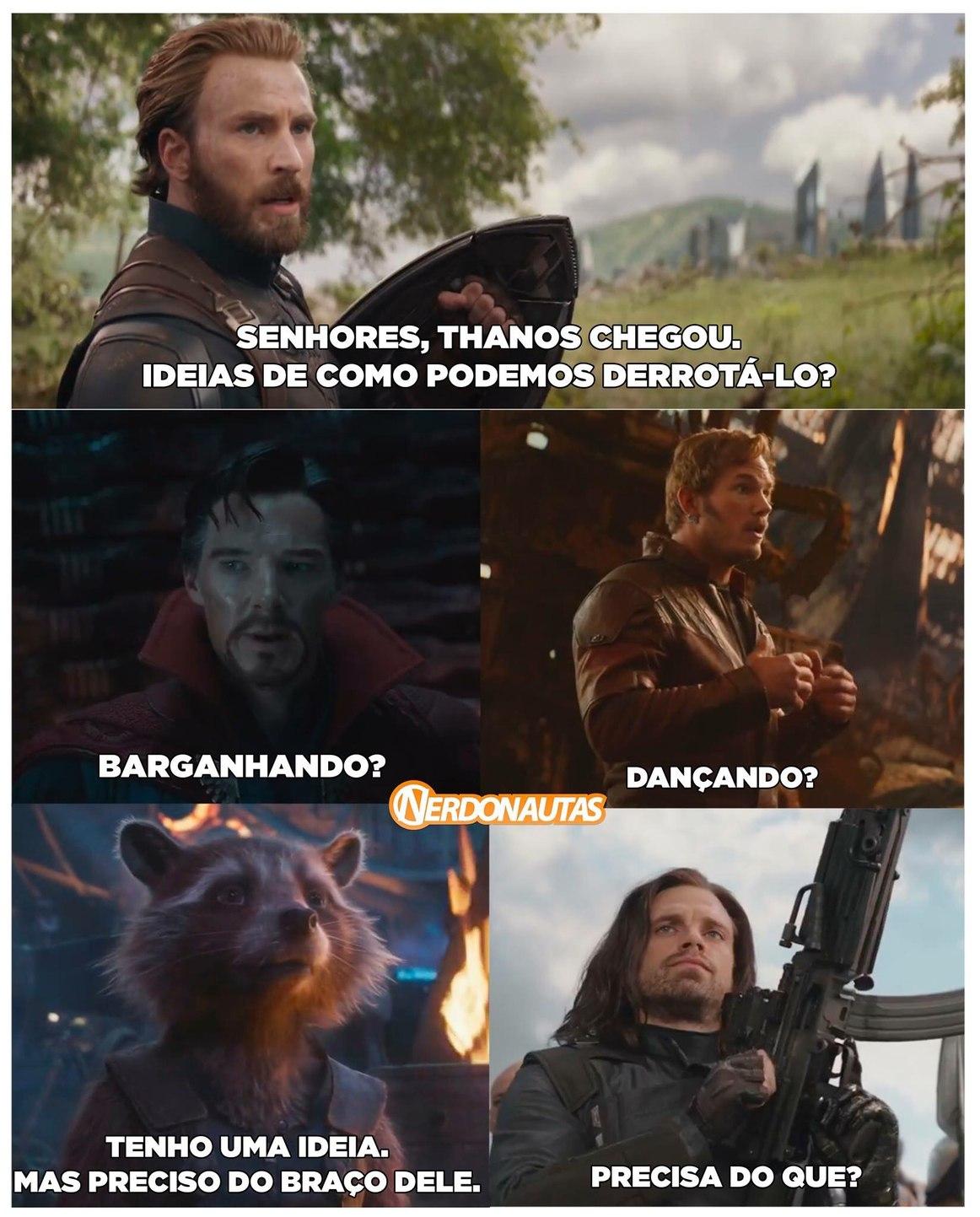 vai morrer o Capitão , vai morrer o homem de ferro, tem Thanoscoptero, MAS NÃO TEM DOIS MITOS GAVIDEUS ARQUIMITO E A GAROTA-ESQUILO(pode parecer uma merda mas foi o único personagem que deu um pau para o Thanos) - meme