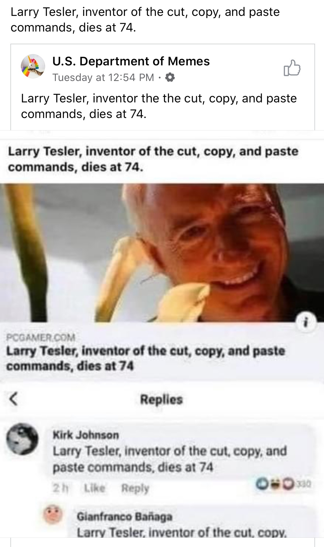 Larry Tesler, inventor of the cut, copy, and paste commands, dies at 74 - meme