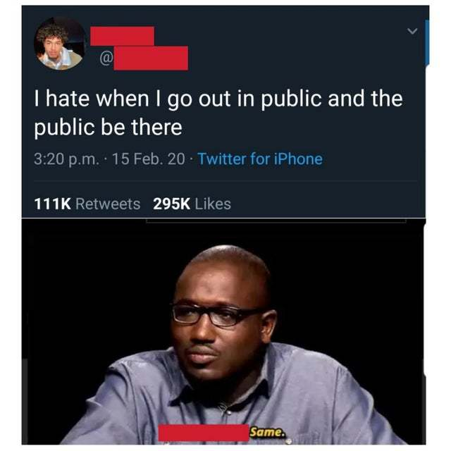 I hate when I go out in public and the public be there - meme