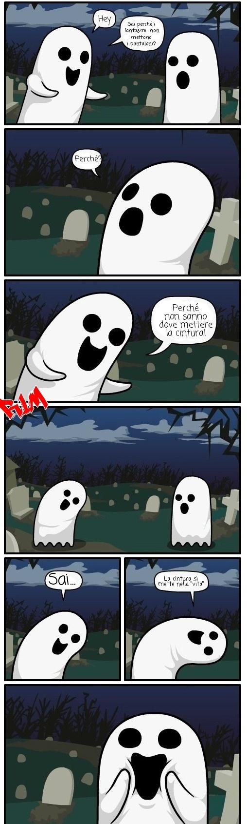 """Halloween meme! Battuta squallida ma se siete un fantasma come me """"morirete"""" dal ridere! ... Ops... Ho parlato troppo! *Scappa mangiando un cheeseburger*"""
