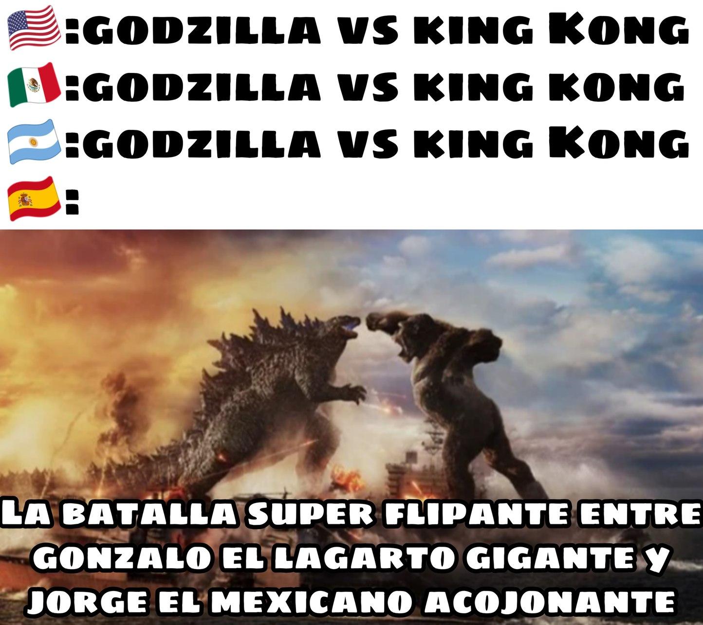 Godzilla vs king Kong doblaje español - meme