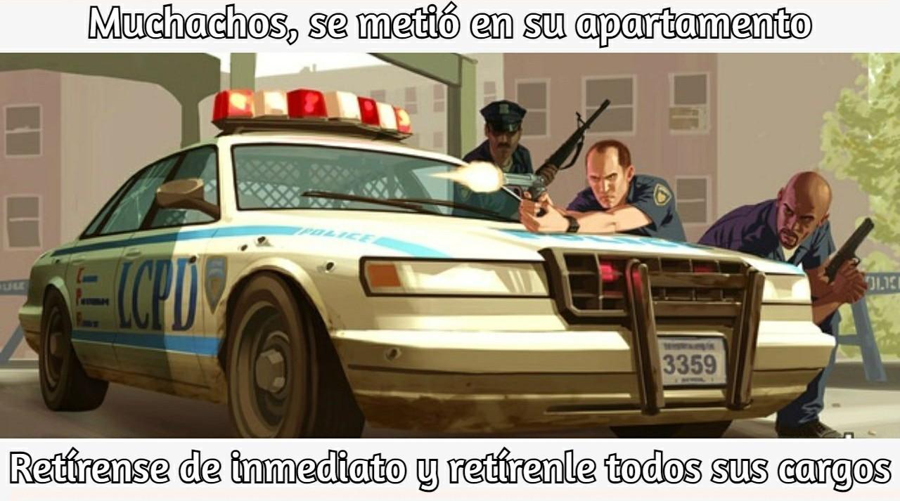 Lógica de los policías en GTA be like - meme