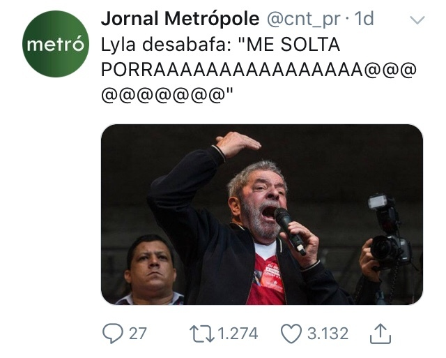 O título foi soltar o Lula - meme