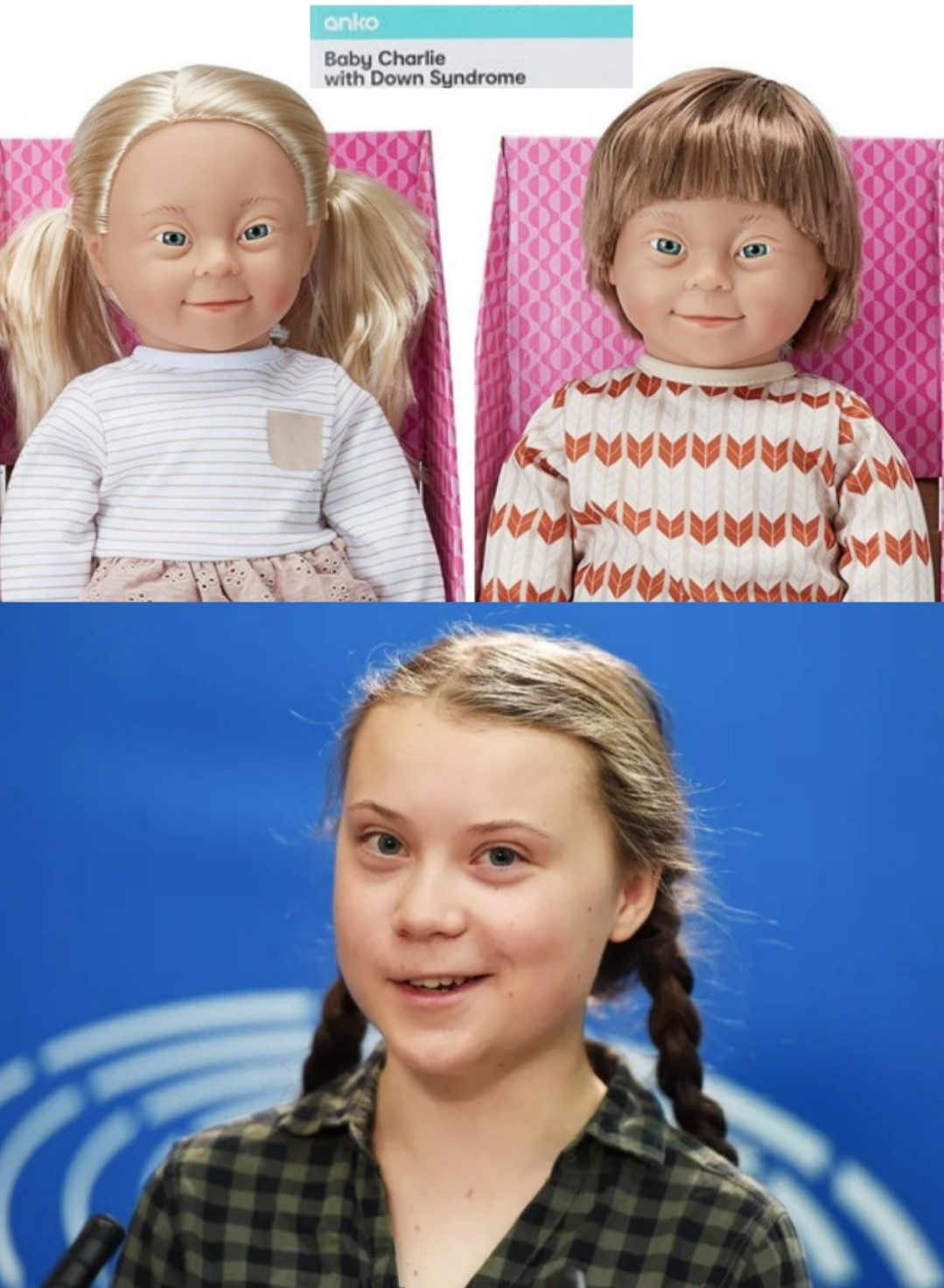 Baby dolls with Down Syndrome - meme