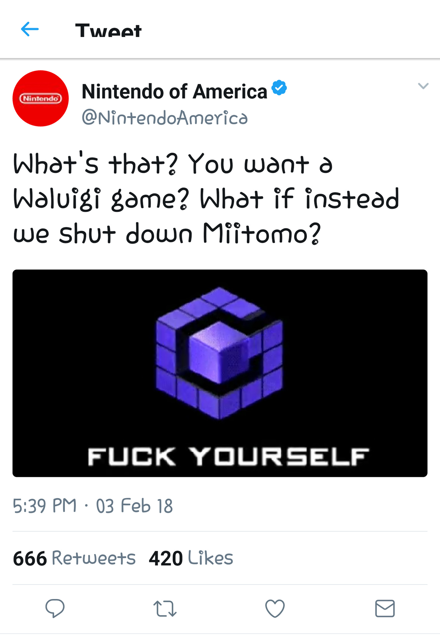 Totally real tweet from Nintendo guys - meme