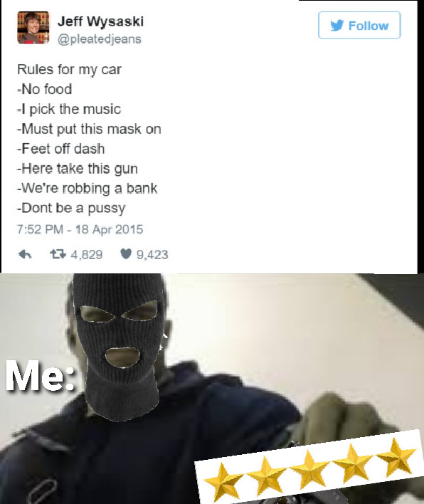 Rules for my car - meme