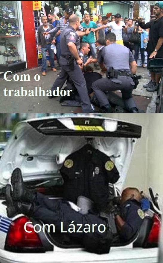 A polícia no Brasil é uma merda - meme
