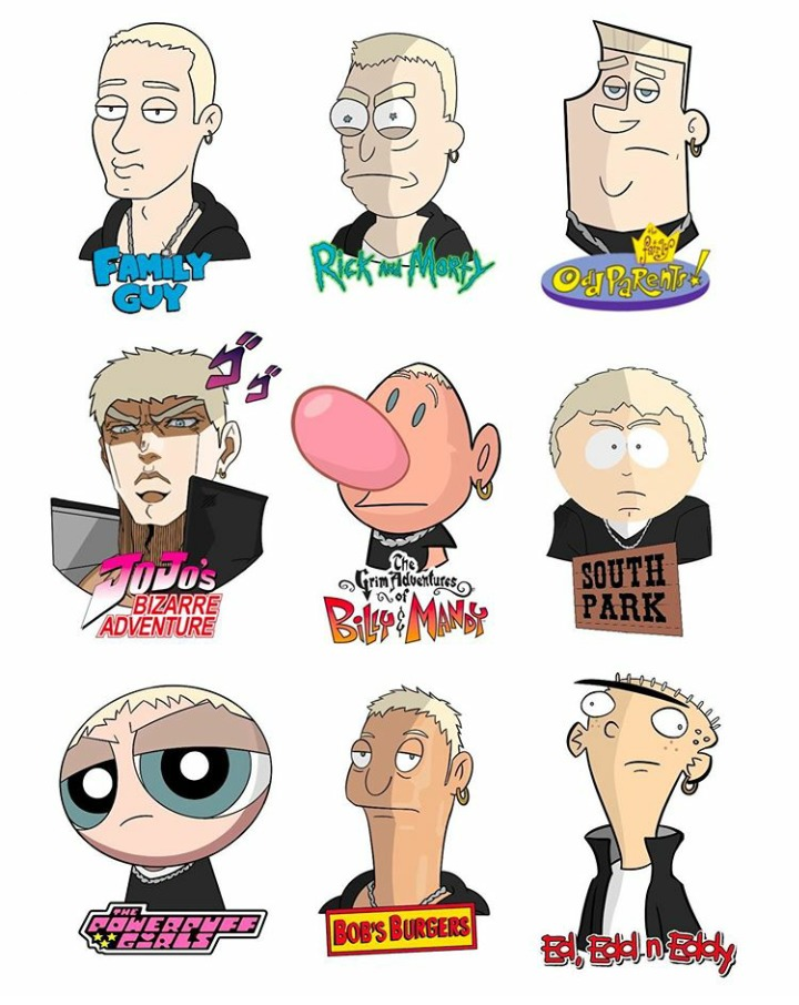 Slim Shady in different cartoon styles (p.s: I love the JOJO one very much) - meme
