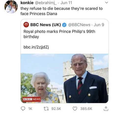 I´ve seen corpses who look fresher than prince Philip - meme
