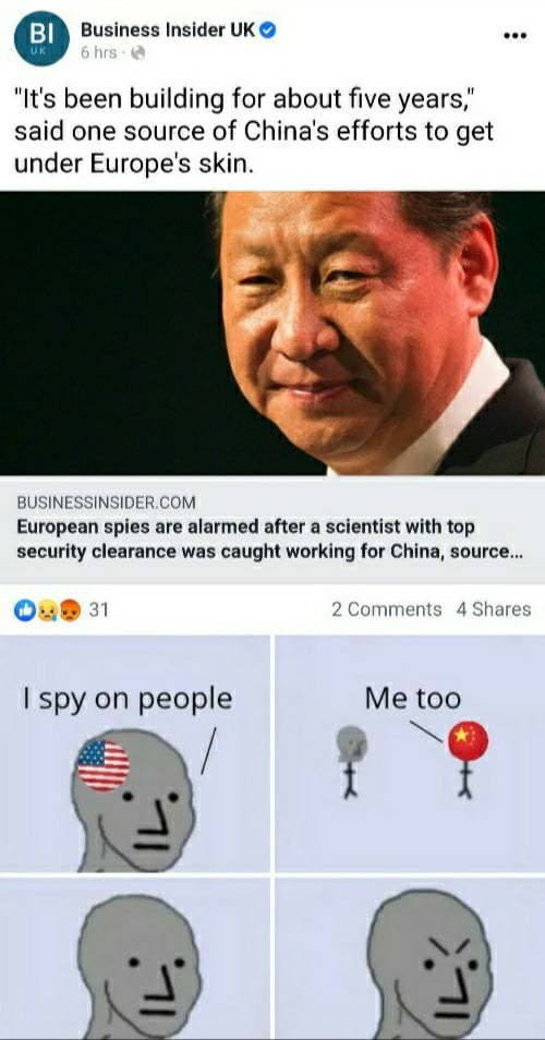 """I spy with my little eye China committing human rights viola-"" *gets arrested immediately and sent to a re-education camp - meme"