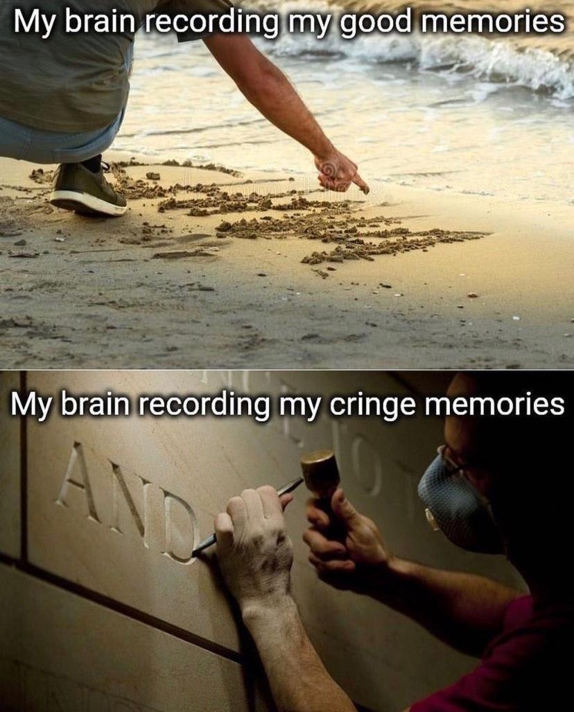 """""""meu cérebro gravando boas memórias"""" // """"meu cérebro gravando memórias vergonhosas"""" - meme"""