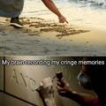 """""""meu cérebro gravando boas memórias"""" // """"meu cérebro gravando memórias vergonhosas"""""""