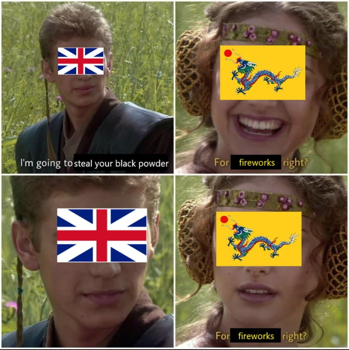 Definitely not to blast your ports open so that I can make your entire population addicted to opium - meme