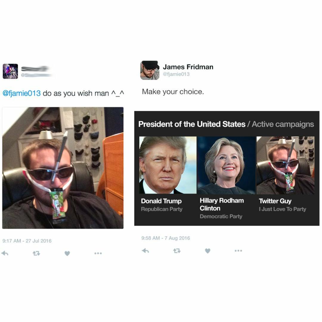 I vote for twitter guy - meme