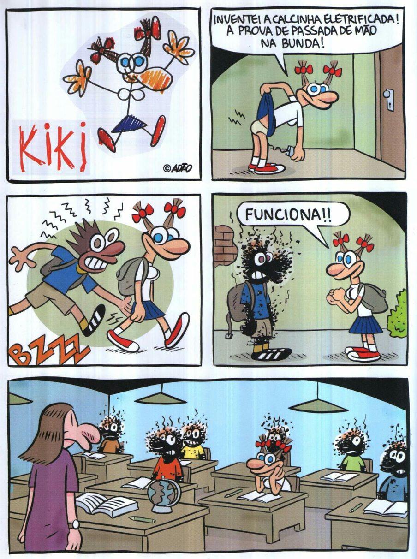 """Calcinha eletrificada. :o ⚡  Cena do livro """"Kiki: A Primeira Vez"""" (2002). - meme"""