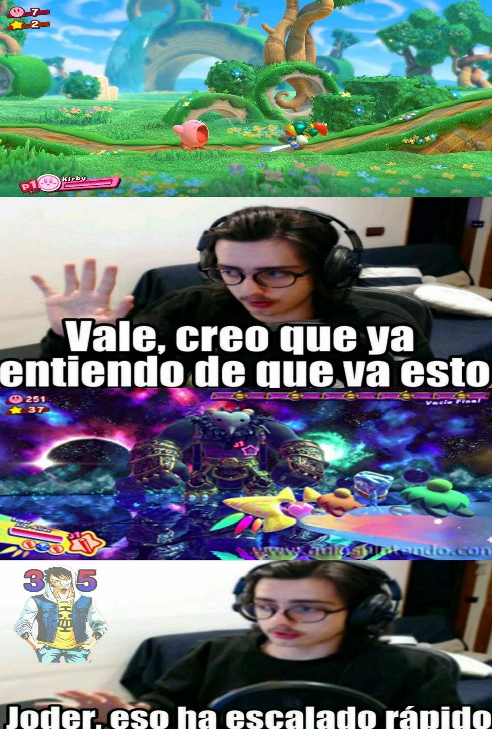 El principio y final de los juegos de Kirby - meme