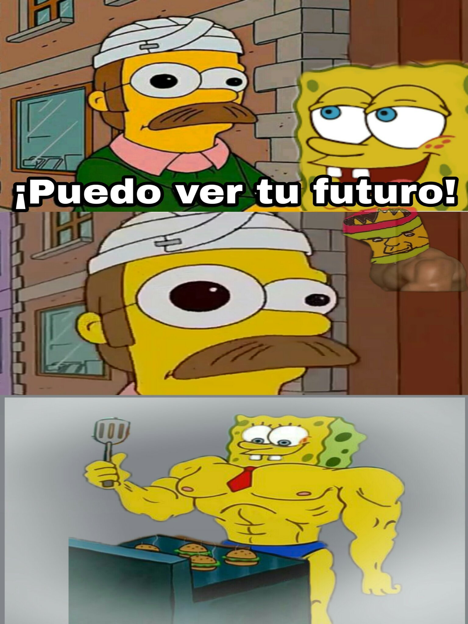Flanders viendo el futuro de bob esponja - meme