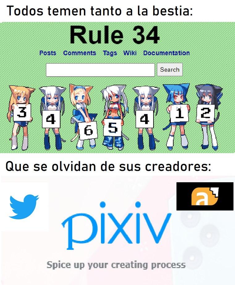Para los que no sepan. Pixiv.net es un sitio japones en el cual hasta sus anuncios contienen pedofilia, zoofilia, scat, etc. y en modelos 3D. Ademas de que forma el 35% de todos los posts de la Rule34. El resto pertenece a FurAfiinity, Twitter, etc. - meme