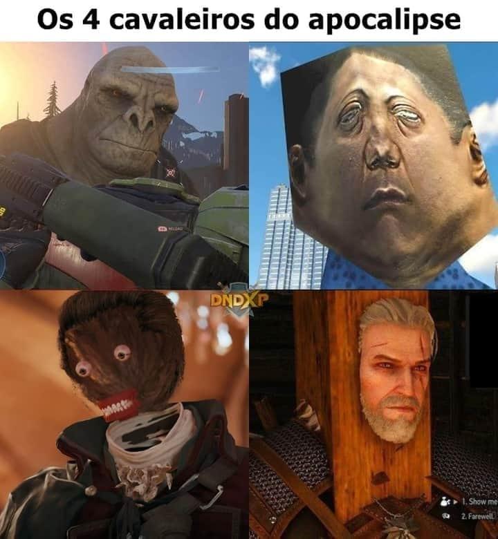 Os 4 cavaleiros do Apocalipse gráfico. - meme