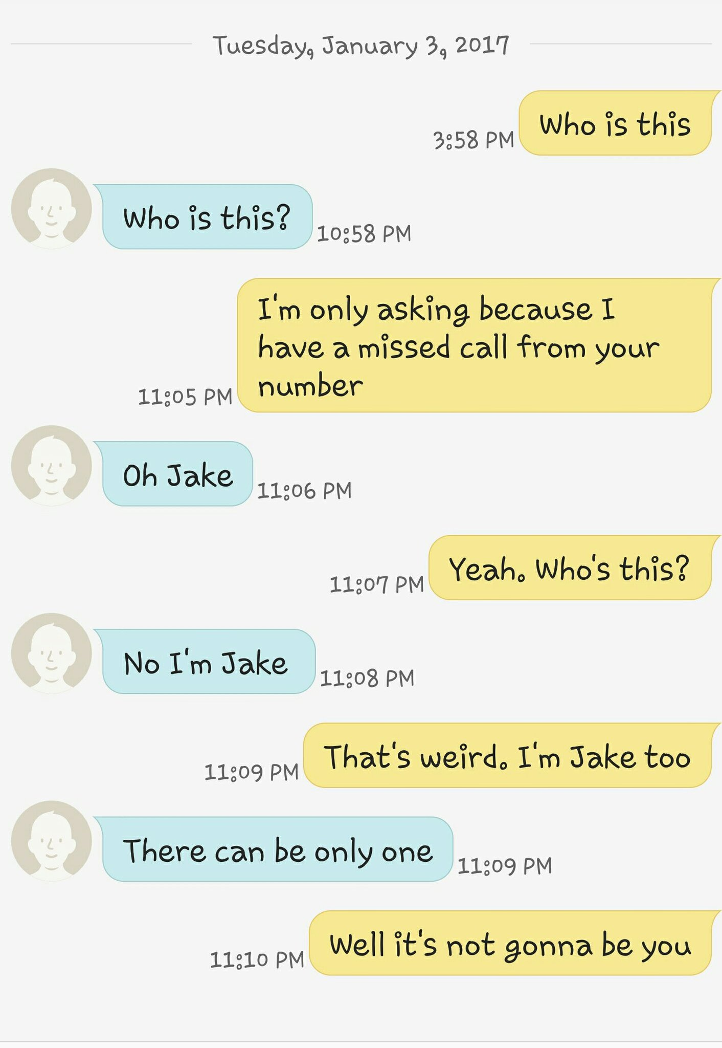 My convo with another Jake today - meme
