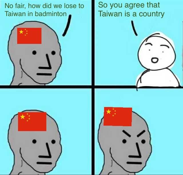 China loses to Taiwan in badminton - meme