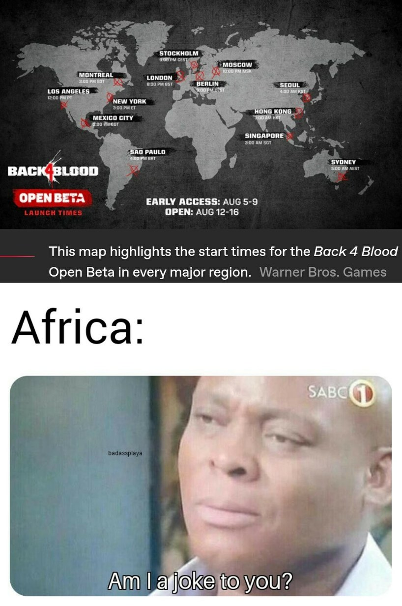 F in the chat for Africa - meme