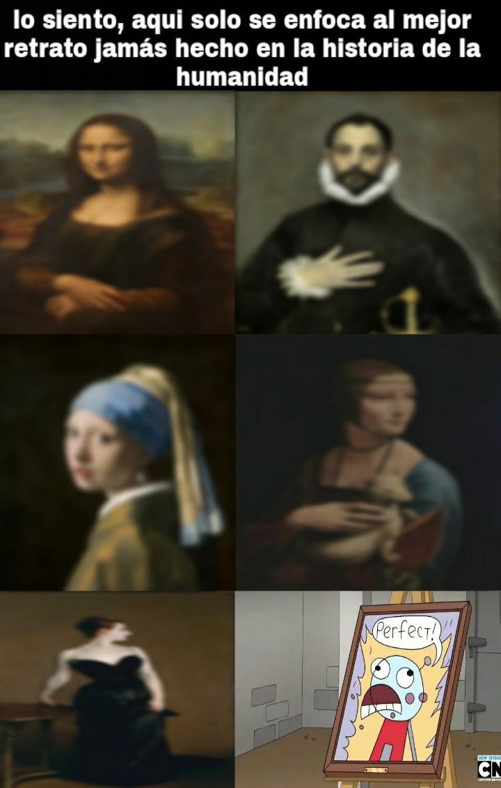 """La monsa lisa esta ahi ahi pero el hecho que el retrato de Benson diga """"perfecto"""" es clave - meme"""