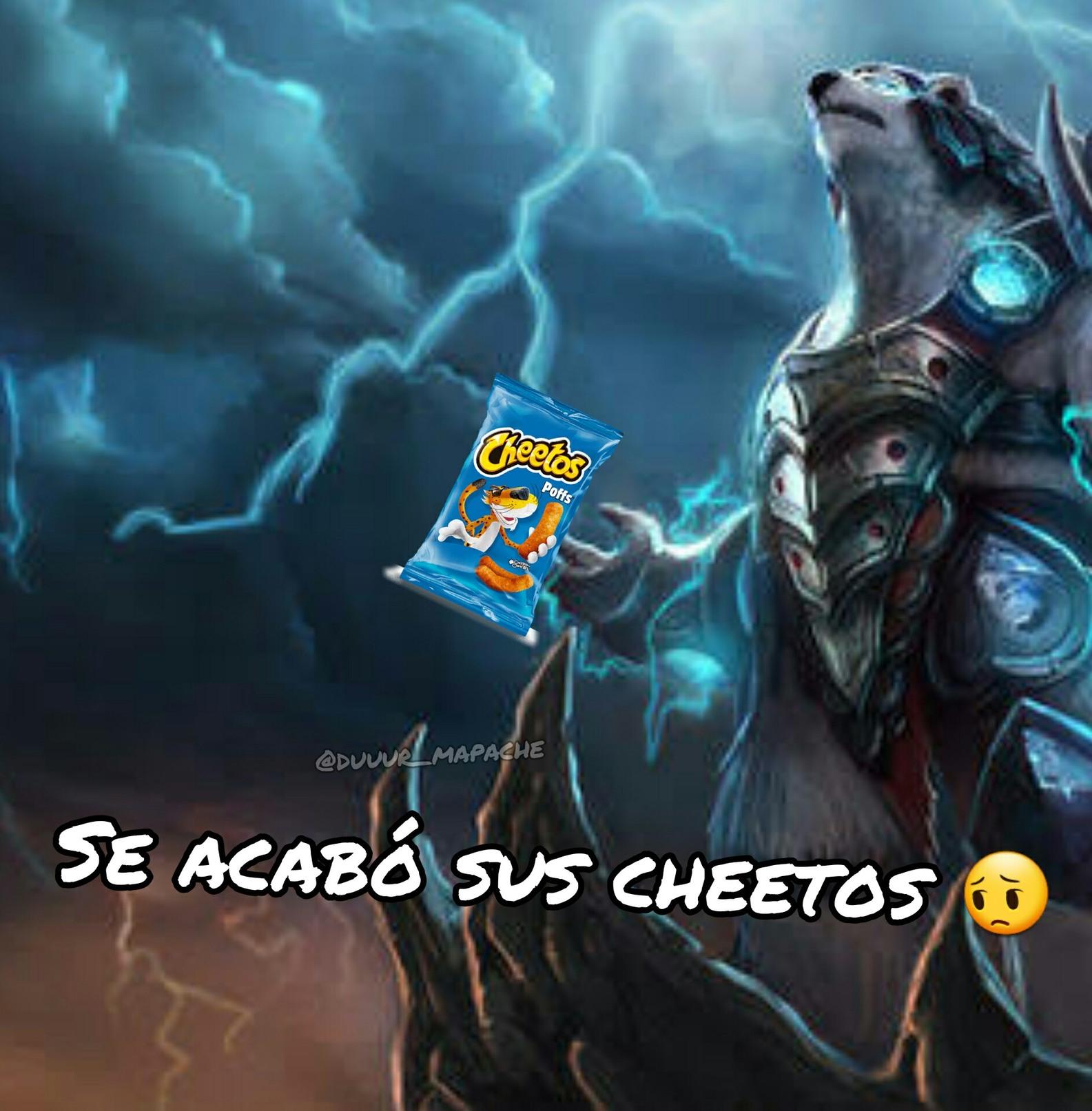 F por sus cheetos by:@duuur_mapache - meme