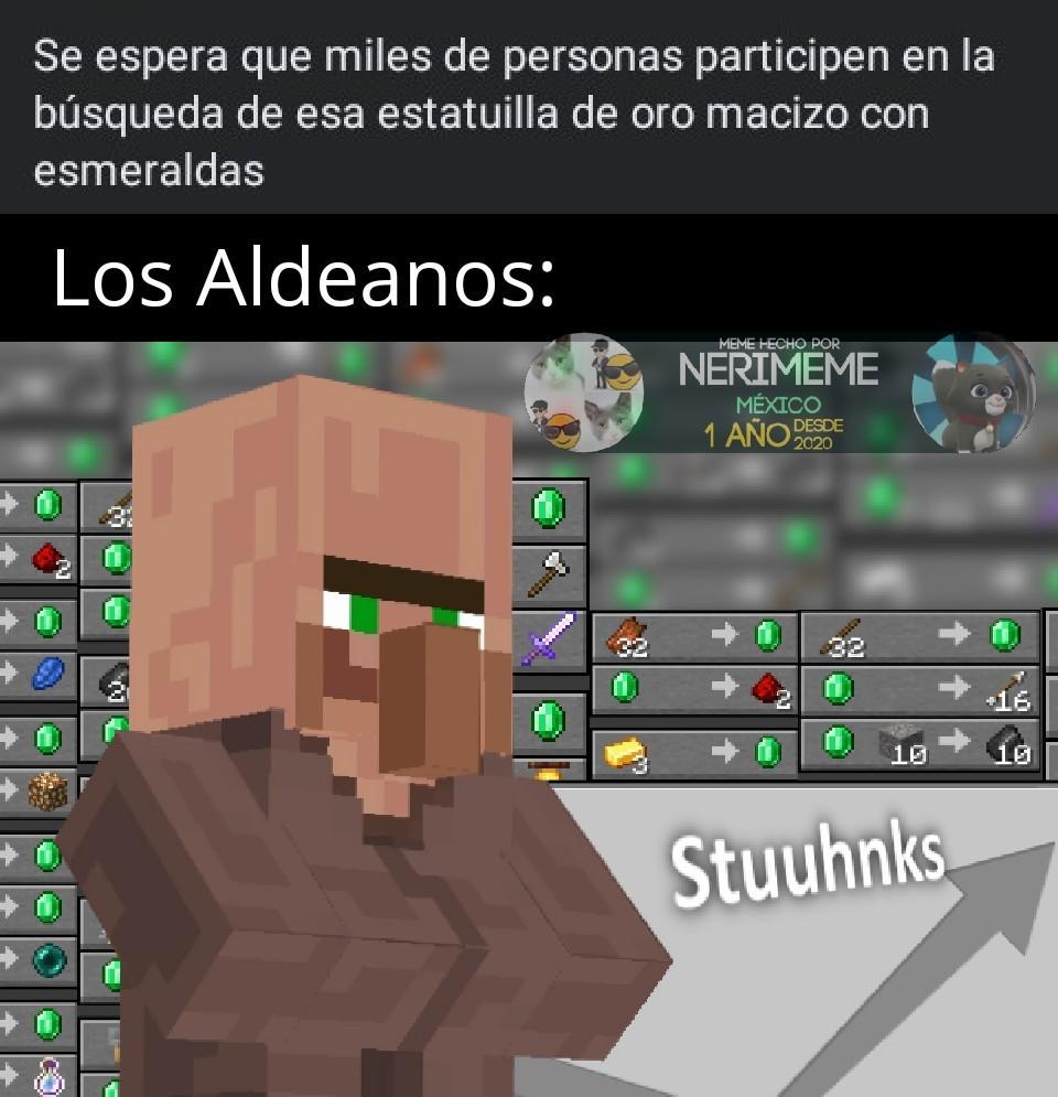 Meme: Aldeanos Buscando La Estatuilla De Oro Con Esmeralda