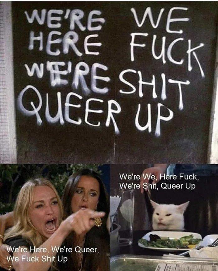 Here we're shut queer fuck up - meme