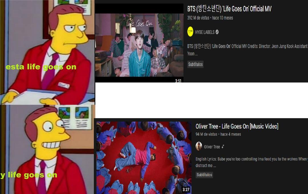 contexto:la de arriba es de la m13rd@da de bts y la de abajo la del oninoninoninoni - meme