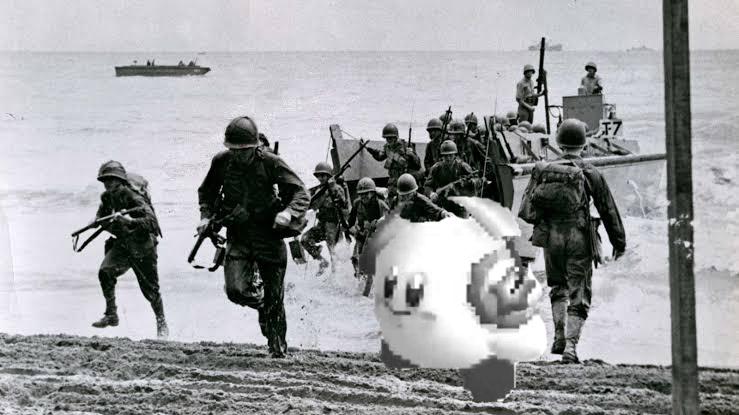 Kirby se une por accidente a la guerra. - meme