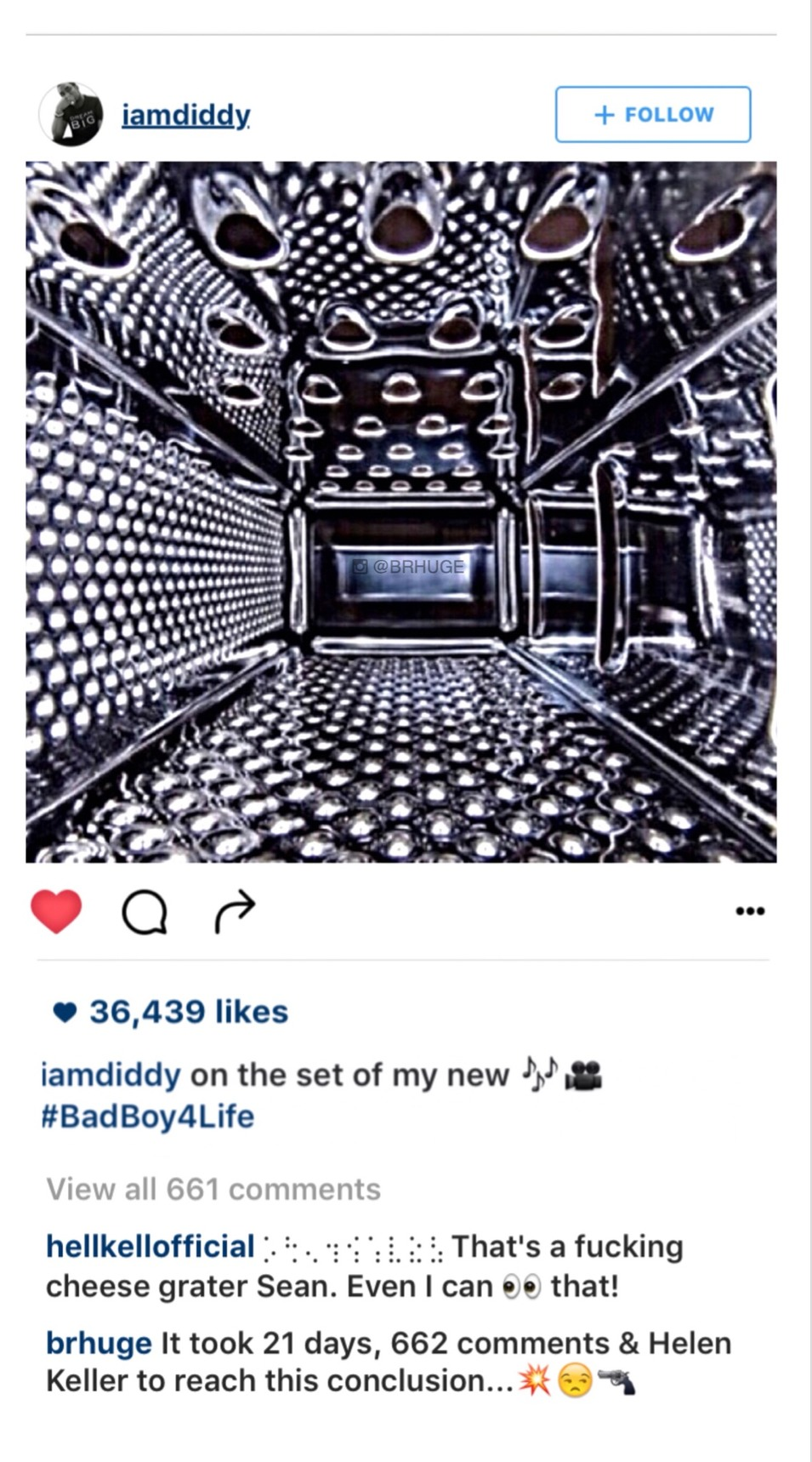 screenshot with 2 funny comments on P.Diddy's Instagram - meme