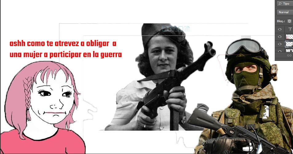 dama de guerra con una mp40 posdata esta imagen solo se photoshopeo pa el soldado y la femi - meme