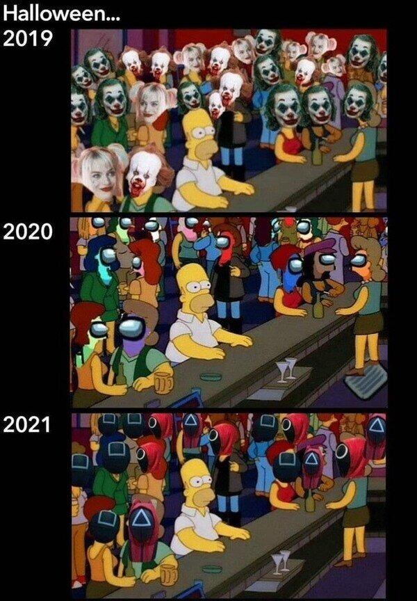 El halloween en cada año - meme
