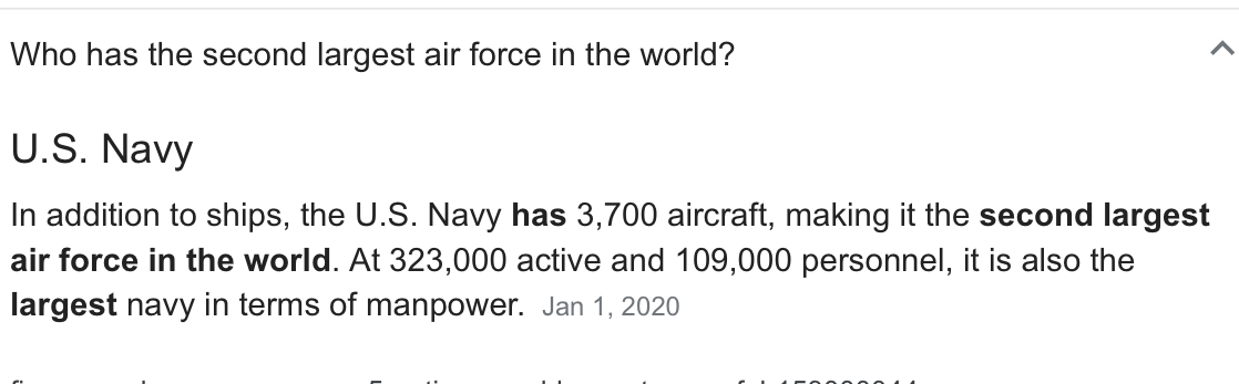 I don't know why but I looked this up and I thought it was funny. Not even an air force  has the strongest airforce. Its a navy - meme