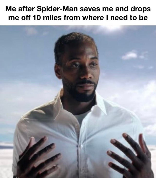 Me after Spider-Man saves me and drops me off 10 miles from where I need to be - meme