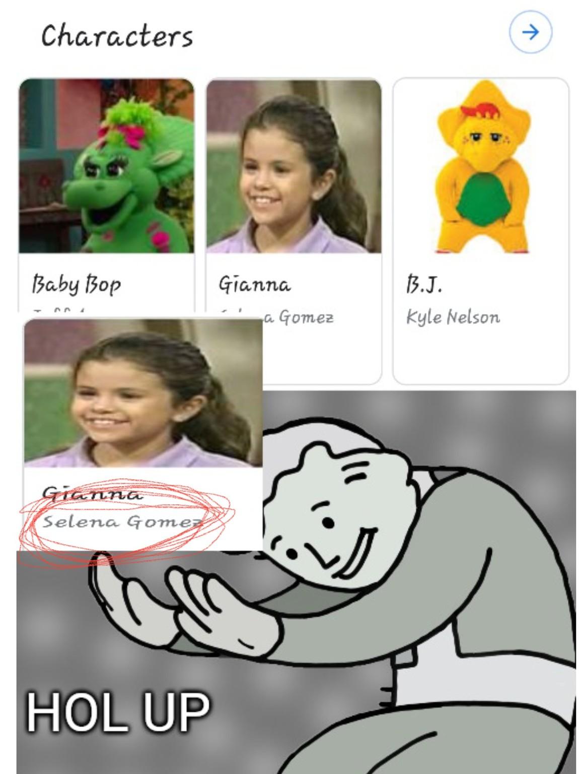 Selena gomez is in barney - meme