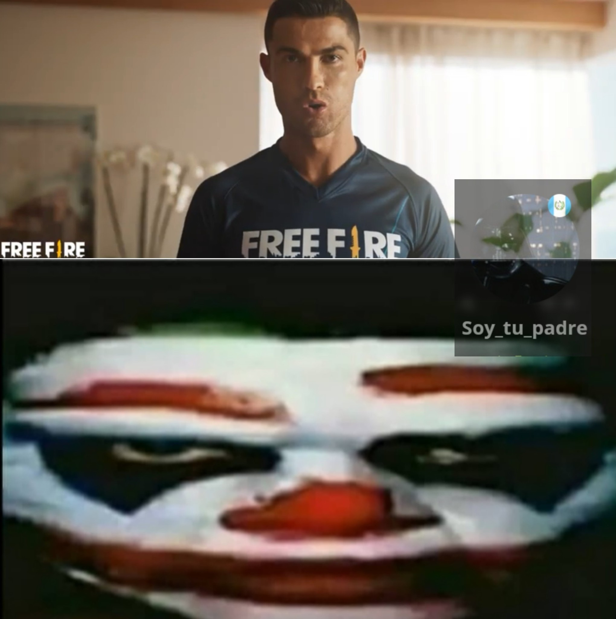 Me pareció chistoso ver al serresiete en un anuncio de free fire - meme