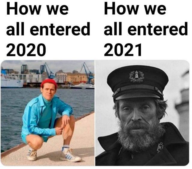 How we all entered 2020 vs how we all entered 2021 - meme