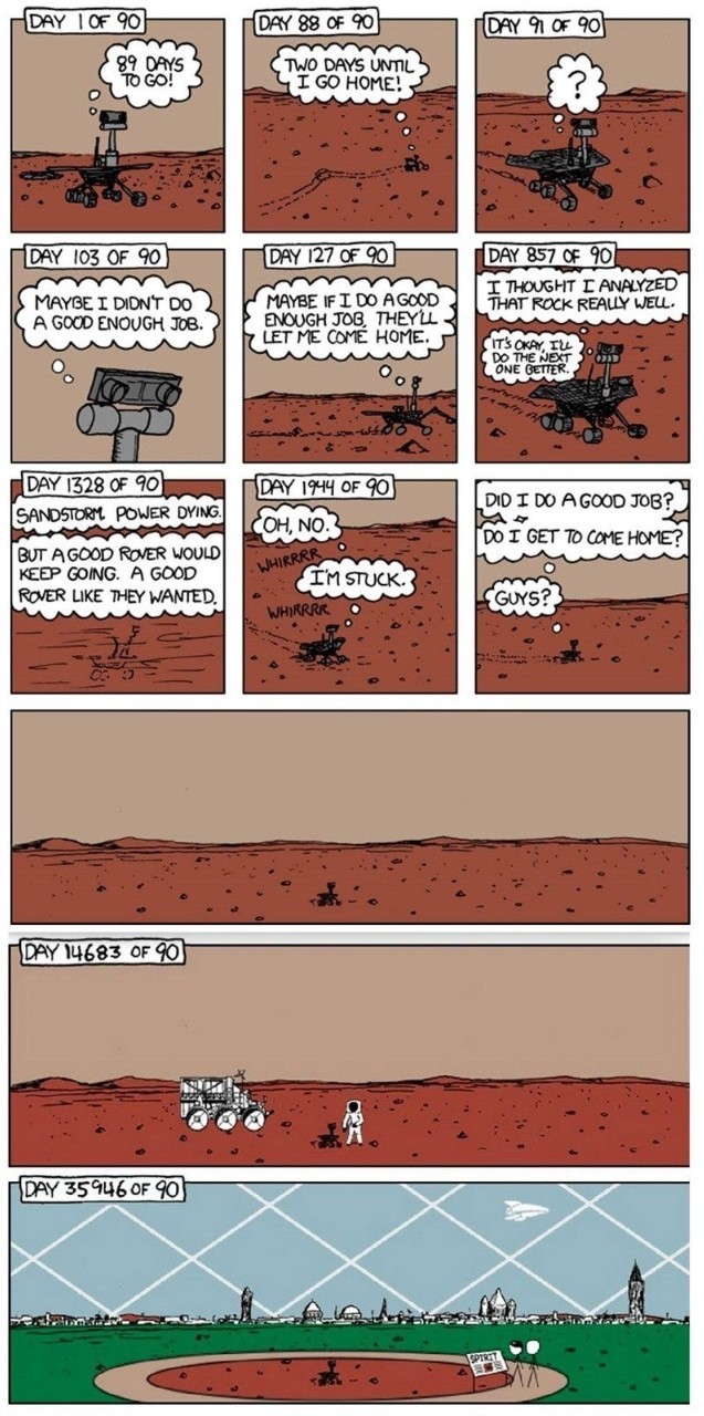 RIP Opportunity, the little Rover that could. 90 day mission turned 15 years. - meme