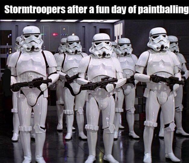 Stormtroopers after a fun day of paintballing - meme