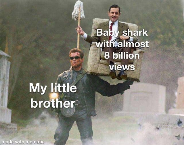 My little brother loves the Baby Shark song - meme