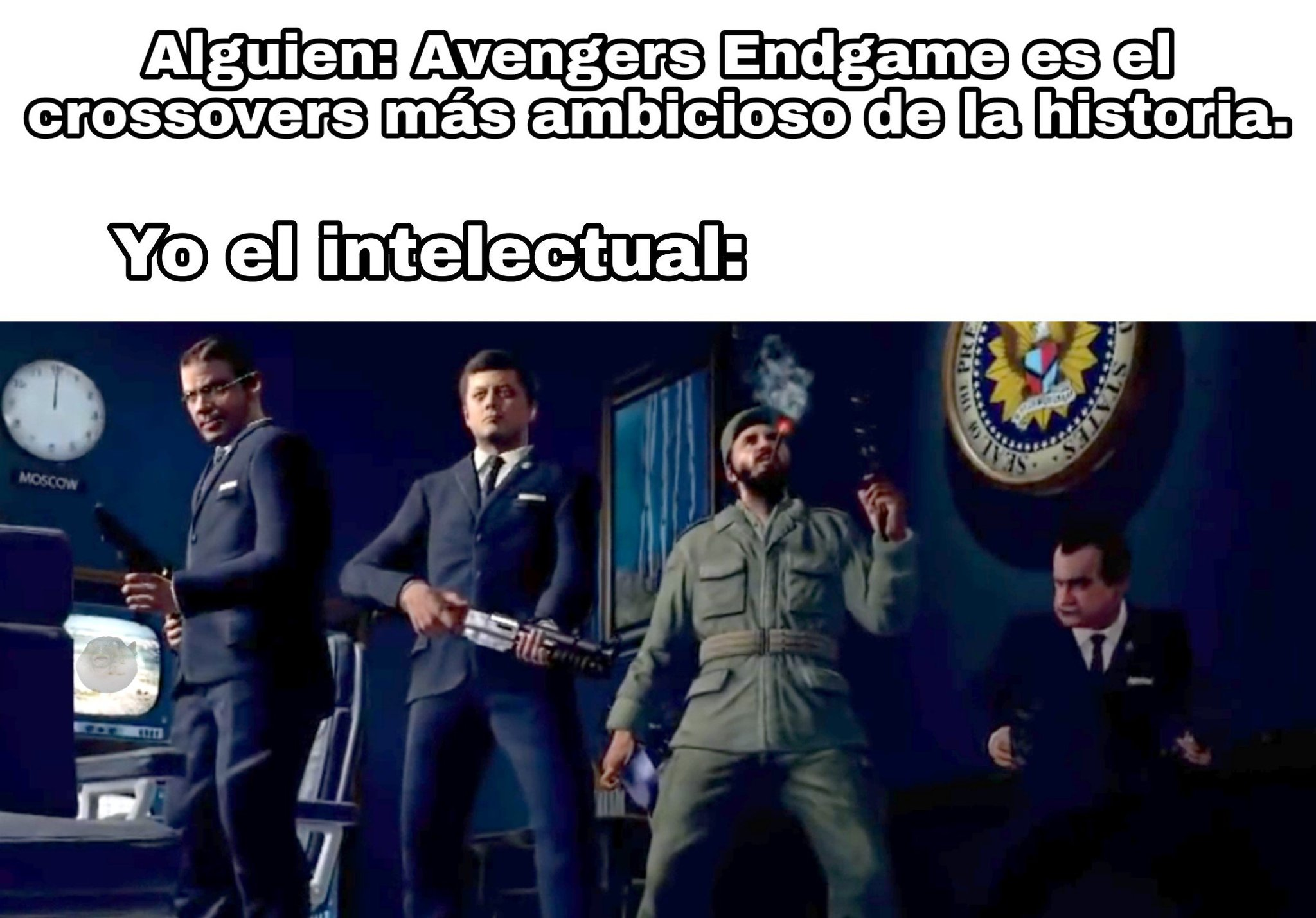 Call of Duty Black Ops 1 con la aparición de Robert McNamra, John F. Kennedy, Fidel Castro y Richard Nixon - meme