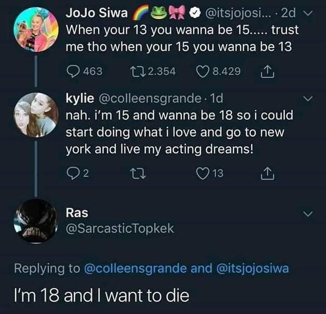 When you are 13 you want to be 15 - meme