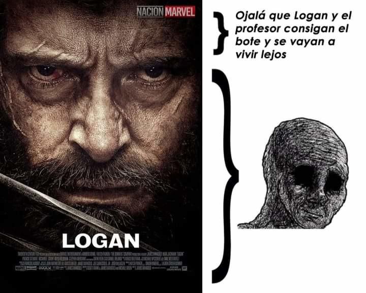 Logan es junto con Spiderman 2 y The Dark Night las mejores películas de superhéroes - meme
