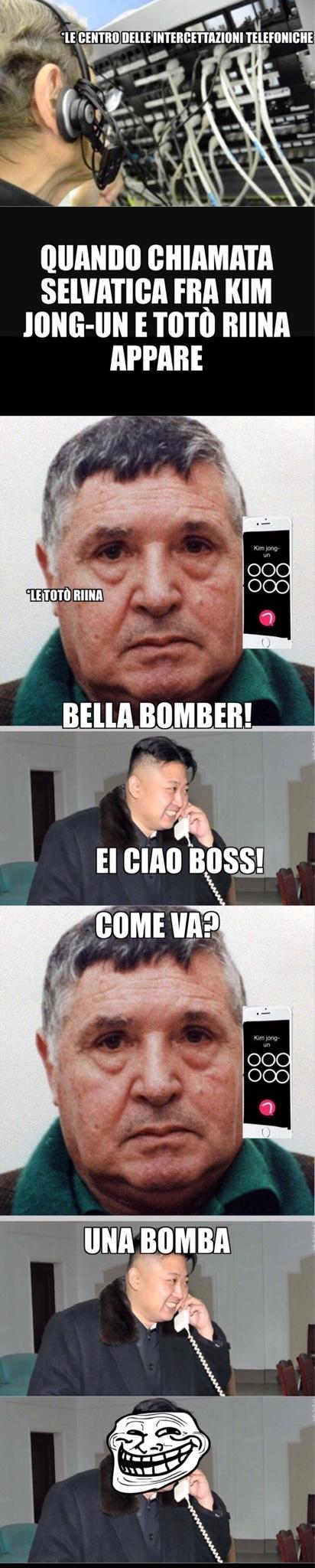 per chi non la capisse Totò Riina è stato un boss mafioso e Kim Jong-un è un dittatore koreano che continua a fare test per le bombe h - meme