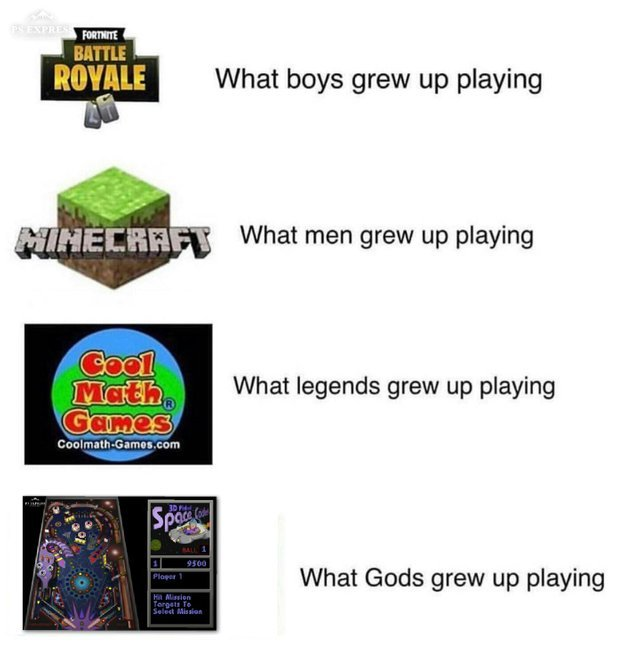 What boys grew up playing - meme