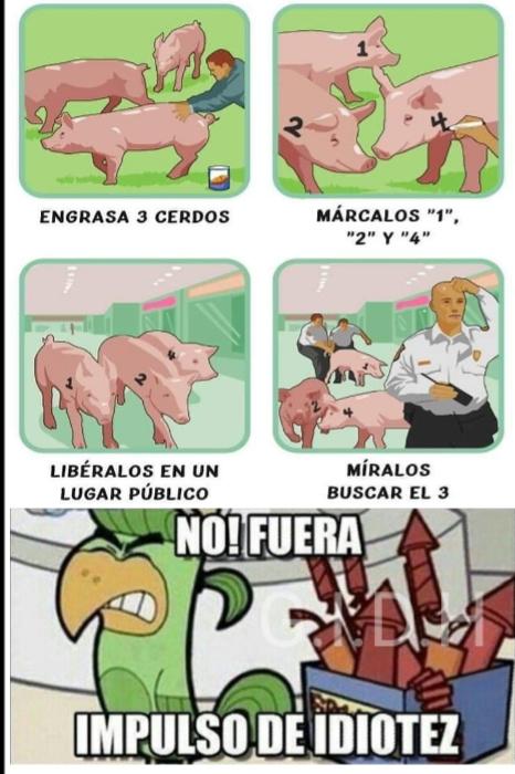 En la primera imagen parece que el hombre se va a coger al cerdo - meme