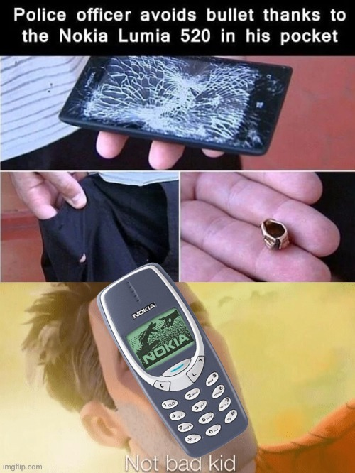 Police officer avoids bullet thanks to the Nokia Lumia 520 in his pocket - meme